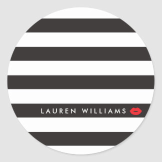 Luxe Black/White Stripes Red Lips Makeup Artist Round Sticker