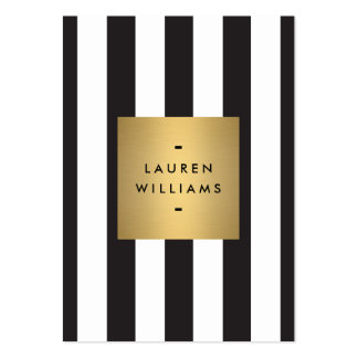Luxe Bold Black and White Stripes Gold Box Large Business Cards