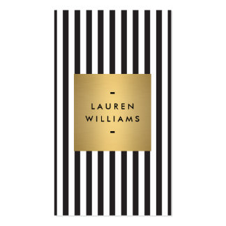 Luxe Bold Black and White Stripes with Gold Box Pack Of Standard Business Cards