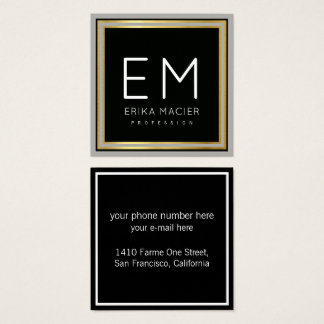 luxe chic black square pro square business card