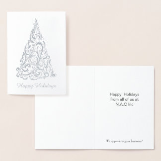 Luxe Christmas Tree Corporate Holiday Greeting Foil Card
