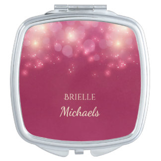 Luxe Dark Pink Glamour Bokeh Sparkles With Name Mirror For Makeup