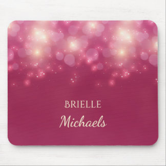 Luxe Dark Pink Glamour Bokeh Sparkles With Name Mouse Pad