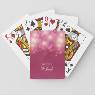 Luxe Dark Pink Glamour Bokeh Sparkles With Name Playing Cards