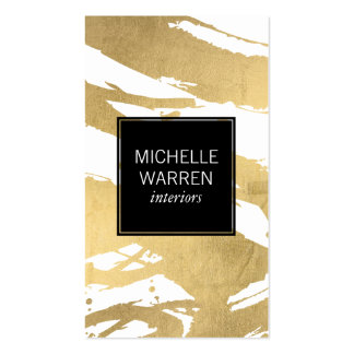 Luxe Faux Gold Brushstrokes Designer Pack Of Standard Business Cards