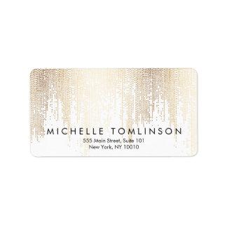 Luxe Faux Gold Confetti Rain Pattern Label
