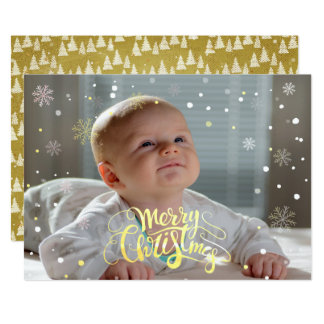 Luxe Faux Gold Falling Snow Christmas Photocard Card