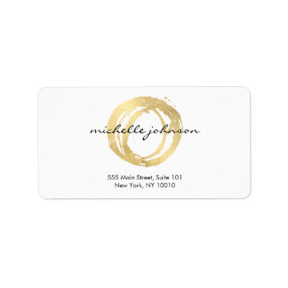 Luxe Faux Gold Painted Circle Designer Logo Address Label