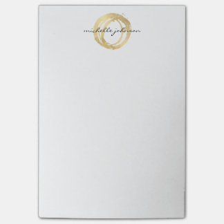 Luxe Faux Gold Painted Circle Designer Logo Post-it® Notes