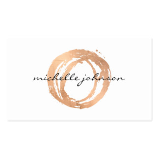 Luxe Faux Rose Gold Painted Circle Designer Logo Pack Of Standard Business Cards