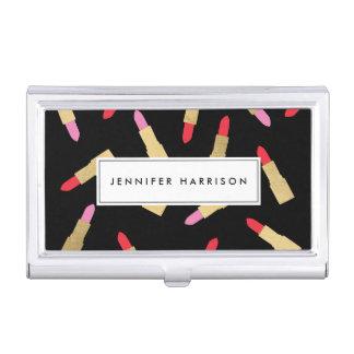 Luxe Glam Lipstick Pattern on Black Makeup Artist Business Card Holder