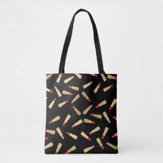 Luxe Glam Lipstick Pattern on Black Tote Bag