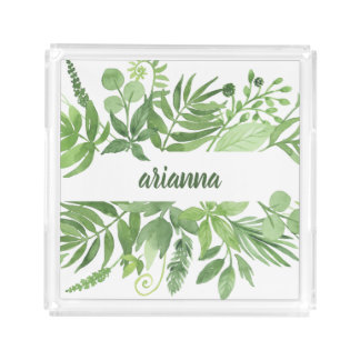 Luxe Leaves | Green Botanical Frame Acrylic Tray