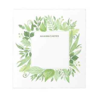 Luxe Leaves   Green Botanical Frame Notepad