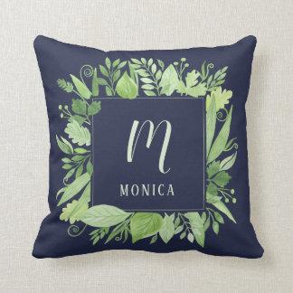 Luxe Leaves | Green Botanical Monogram on Blue Cushion