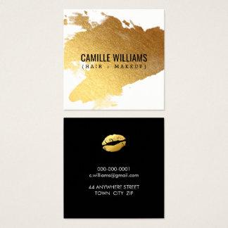 LUXE MINIMALIST glam gold splash cute kiss lips Square Business Card