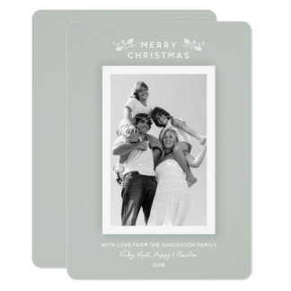 Luxe Modern Minimal Gray Green Christmas Photo Card