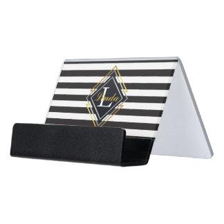 Luxe Monogram Desk Business Card Holder