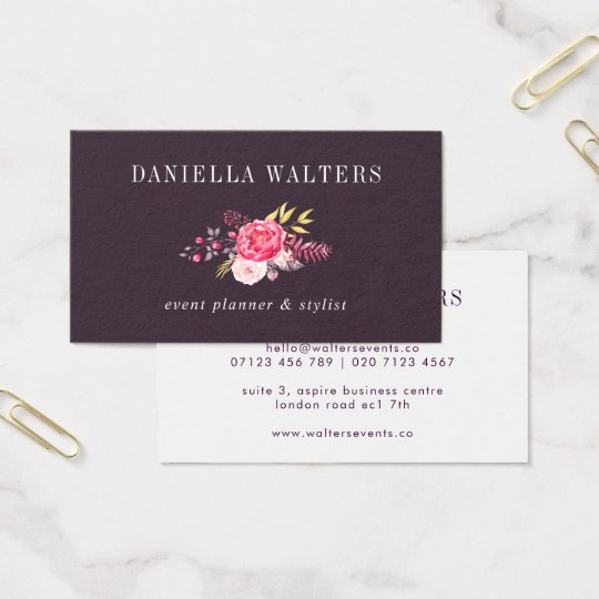 Luxe Plum and Pink Botanical Flowers Business Card