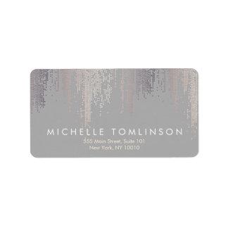 Luxe Shimmer Look Confetti Rain Pattern Gray Address Label