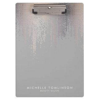Luxe Shimmer Look Confetti Rain Pattern Gray Clipboard