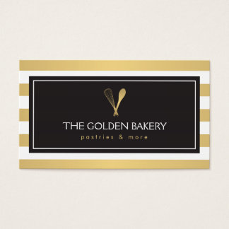 Luxe Striped Gold Whisk Spoon Logo Bakery, Chef II