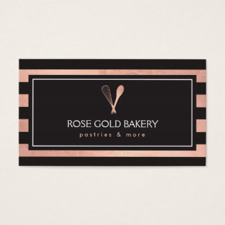 Luxe Striped Rose Gold Whisk Spoon Logo Bakery II Business Card
