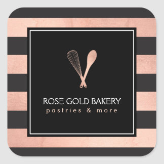 Luxe Striped Rose Gold Whisk Spoon Logo Bakery II Square Sticker