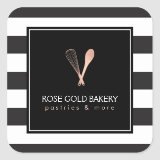 Luxe Striped Rose Gold Whisk Spoon Logo Bakery Square Sticker