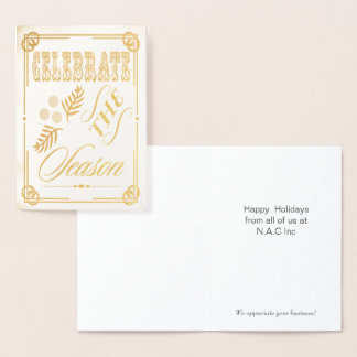 Luxe typography Corporate Holiday Greeting Foil Card
