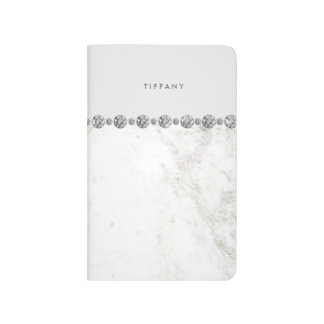 Luxe White Marble and Diamond Look on Soft Gray Journal