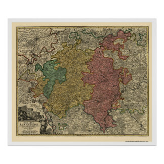 Luxembourg Europe Map 1712 Poster