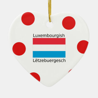 Luxembourg Flag And Luxembourgish Language Design Ceramic Ornament