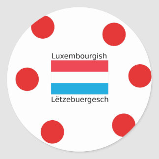 Luxembourg Flag And Luxembourgish Language Design Classic Round Sticker