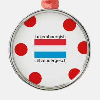 Luxembourg Flag And Luxembourgish Language Design Metal Ornament