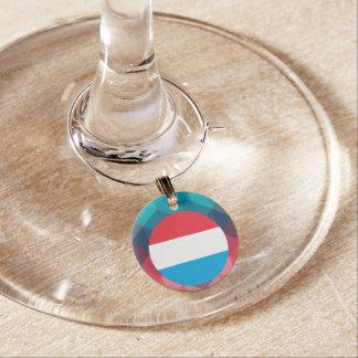 Luxembourg flag circle on modern bokeh wine charm