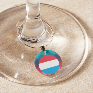 Luxembourg flag circle on modern bokeh wine charms