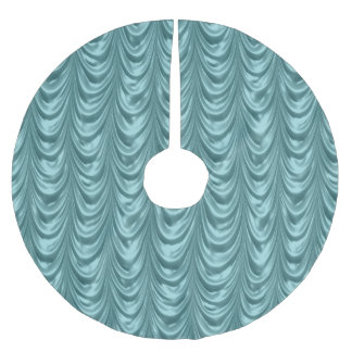 Luxurious Aqua Ruched Satin Scalloped Pattern Brushed Polyester Tree Skirt