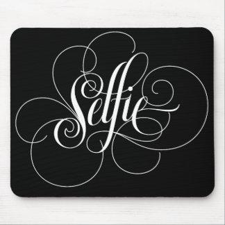 Luxurious Calligraphy 'Selfie' Black Mousepad