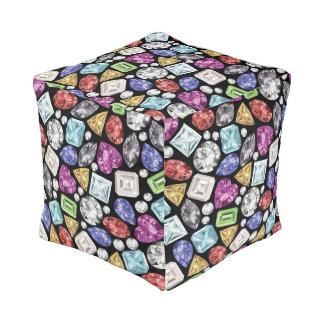 Luxurious colorful Diamond Pattern Cube Pouffe