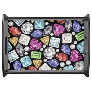 Luxurious colorful Diamond Pattern Service Tray