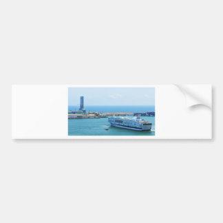 Luxurious cruise ship leaving Barcelona harbour Bumper Sticker