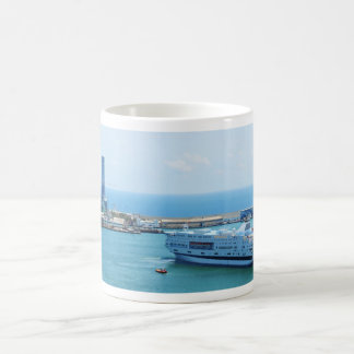 Luxurious cruise ship leaving Barcelona harbour Coffee Mug