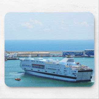 Luxurious cruise ship leaving Barcelona harbour Mouse Pad