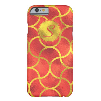 Luxurious Gold, Red Foil Monogram Barely There iPhone 6 Case