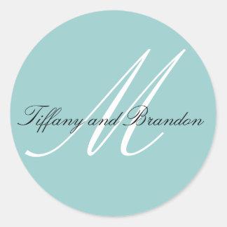 Luxurious Monogram Names Blue Wedding Sticker