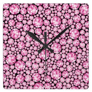 Luxurious pink Diamond Pattern Wall Clocks