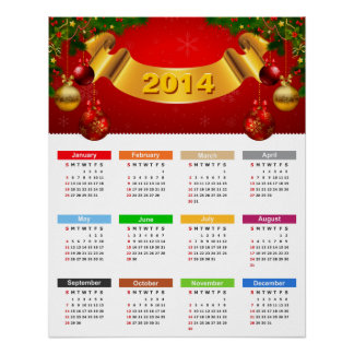 Luxury 2014 Calendar with Red Gold Ornaments