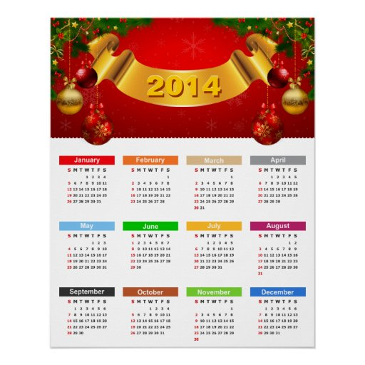 Luxury 2014 Calendar with Red Gold Ornaments Perfect Poster