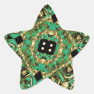 Luxury Abstract Golden Grunge Art Star Sticker